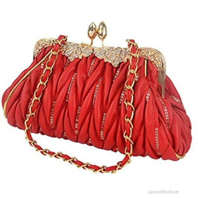 Aisunne Womens Leather Vintage Pleated Evening Handbag Clutch Bags Purse For Wedding Cocktail Party