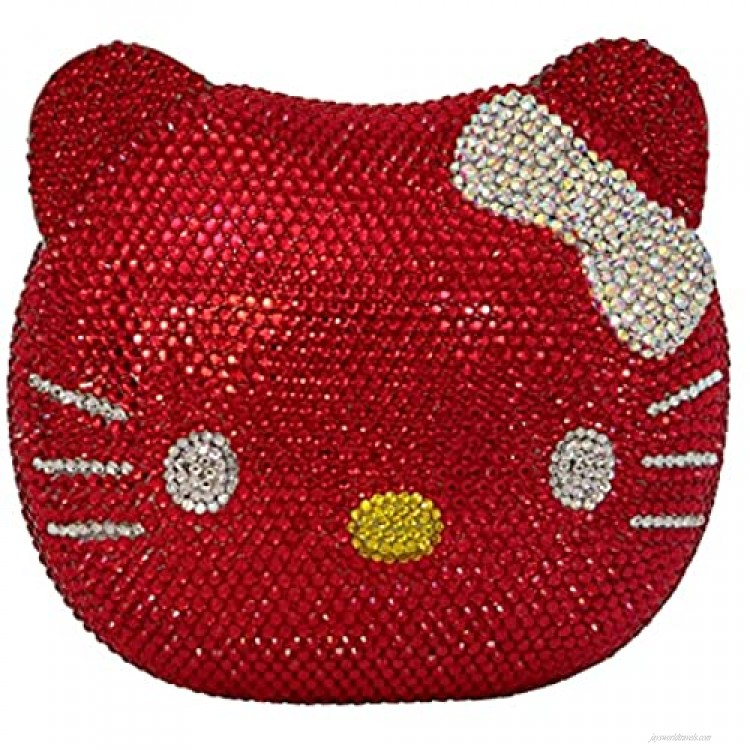 Hello Kitty Cat Crystal Clutch Couture Special Occasion Holiday Party Evening Bag Red & Silver