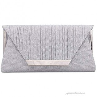 Roomy Shimmery Glitter Envelope Evening Bag Clutch Purse Cross Bag Wedding Party Prom Handbag with Chain Strap