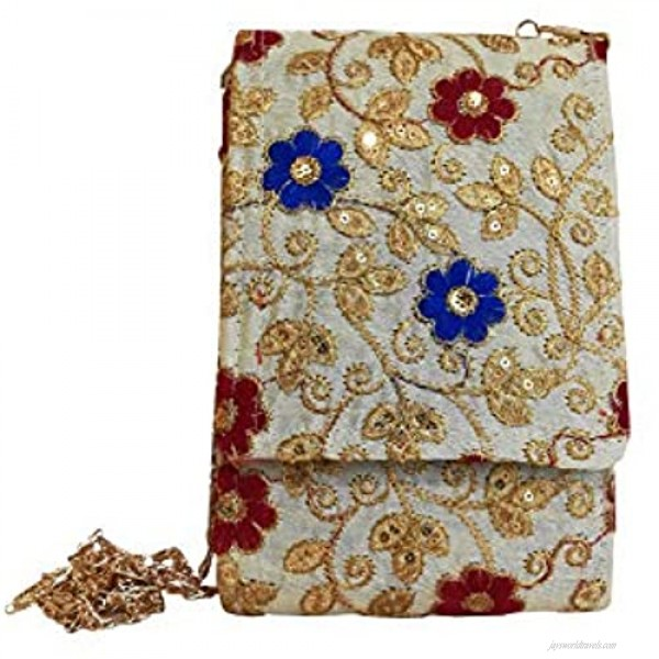 Small Floral embroidered vintage Cell Phone Purse and evening bag clutch Classic Wedding Party Shoulder Bag for women