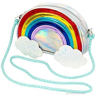 Claire's Club Holographic Rainbow Clouds Crossbody Bag Zipper Closure with Glitter Clouds Shoulder Strap
