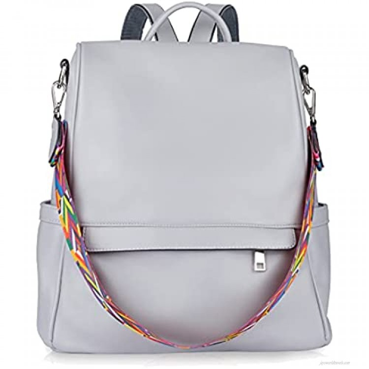 Backpack Purse for Women Ruoxin Leather Anti-theft Fashion Travel Backpack Shoulder Handbags Grey