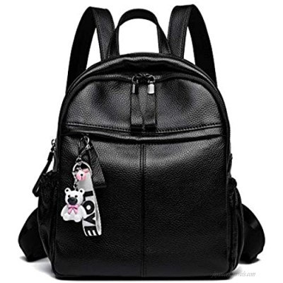 Genuine Leather Backpack Purse for Women Multi-functional Soft Leather Daypack for ladies (Black)