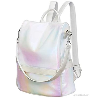TENDYCOCO Backpack Purse Holographic Women Travel Daypacks Multi-pocket Shoulder Bag PU Leather for Ladies