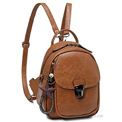 Backpack Purse Small Kasqo Fashion Pu Leather Mini Purses for Women Teen Girls Satchel Shoulder Bag with Detachable Shoulder Strap Brown