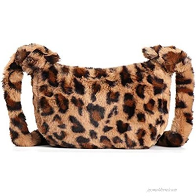 BABABA Plush bag women's new personalized leopard print shoulder bag for autumn/winter