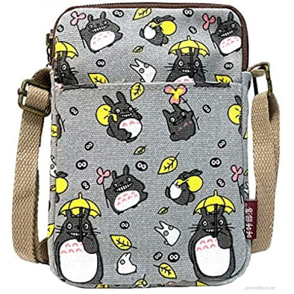 JIMDUO Anime Gifts Canvas Small Cute Cell Wallet Phone Purse with Shoulder Strap coin purse Candy Bag