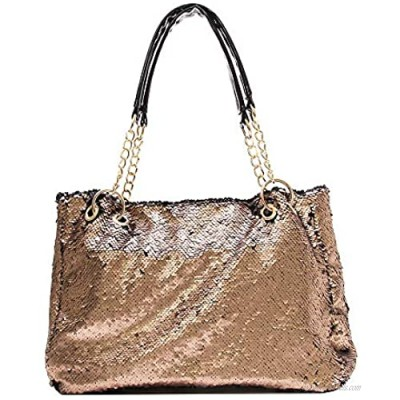 QTKJ Fashion Two Tone Reversible Sequin Tote Bag Zipper Shoulder Bag with Chain and Leather Straps (Gold)