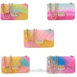 Rainbow Jelly Purses for Women Crossbody Evening Shoulder Bags with Chain