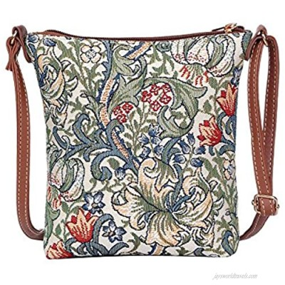 Signare Tapestry Small Crossbody Bag Sling Bag for Women with William Morris Golden Lily Design (SLING-GLILY)