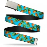 Buckle-Down Men's Web Belt Pineapples Multicolor 1.5 Wide-Fits up to 42 Pant Size