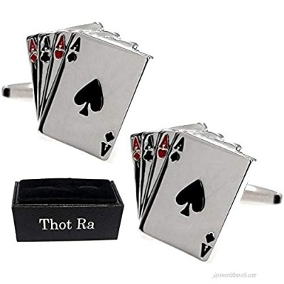 Thot Ra Aces 4 Four Playing Cards Poker Gambling Desing Cufflinks For Men A-592