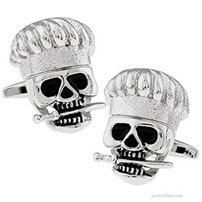 Thot Ra Chef Cook Skull Silver Tone Desing Cufflinks For Men Mod. A-525