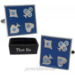 Thot Ra Playing Cards Clubs Diamonds Hearts And Spades Desing Premium Cufflinks For Men Mod. A-508