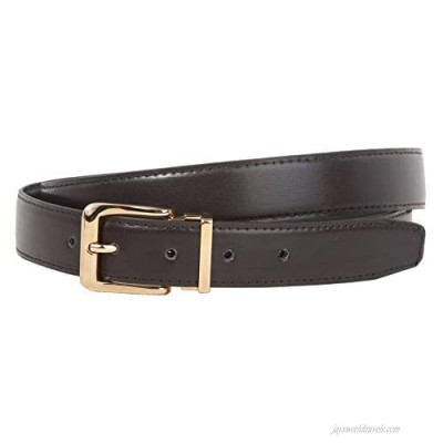 1 1/8 Inch Clamp On Gold Buckle One Size Fits All Faux Leather Belt
