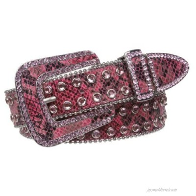 Snap On Western Cowgirl Snake Texture Leather Belt
