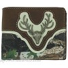 Brown Camo Wallet with Deer Head Bifold Wallet for Men with Flip ID and Card Holders Gift for Hunters 3.5 x 4.5 inches
