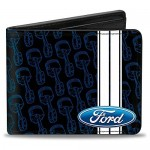 Buckle-Down mens Buckle-down Pu Bifold - Ford Oval/Stripe/Piston Repeat Black/Blue/White Wallet Multicolor 4.0 x 3.5 US