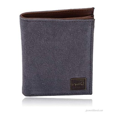 CANVAS & AWL Canvas Wallet for Men   Rfid Blocking Slim Trifold Top Grain Leather Trim Wallets with 10 Card Slots - Fits Perfectly in Your Pocket