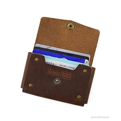 Christian gift for women &men   Handmade genuine leather wallet/business card holder with Bible Scripture   Made in the USA