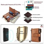 Earning Power Mens Wallet RFID Blocking Soft Genuine Leather Gents Wallet With Chain Double Zipper and Coin Pocket Small Mens Bifold Wallets 16 Card Holder (Khaki)