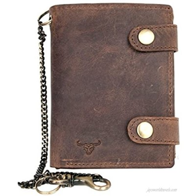 Men's Genuine Leather Biker's Wallet with Two Buckles and Metal Chain with a Bull Head