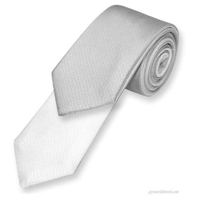 Biagio TWO-SIDED NeckTie Solid SILVER GREY and WHITE Men's Neck Tie