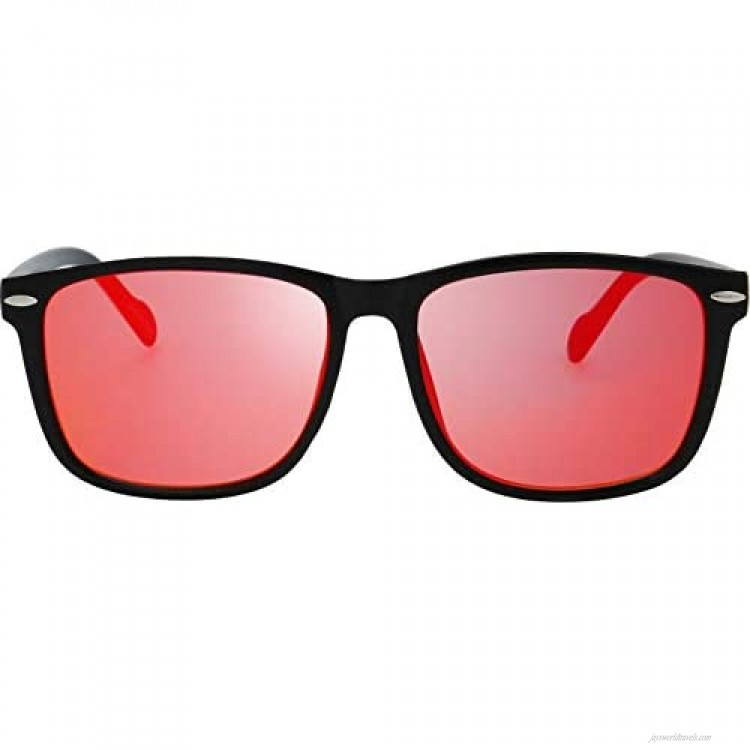 Flat Mirrored Reflective Color Lens 80's Retro Classic Trendy Stylish Sunglasses - Gift Box Package