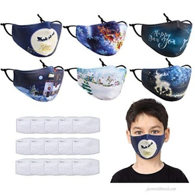 6 pcs 3 Layers Cristmas Face Covering Mask Warm Washable Reusable Face Cotton Winter mask with 15 Pcs Activated Carbon Filter