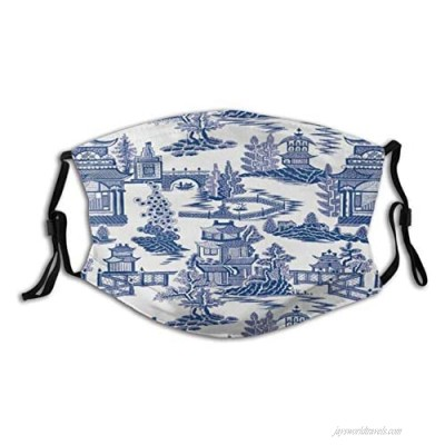 Chinese Porcelain Texture Face Mask Reusable & Adjustable Fashion Unisex Outdoor Earloops Bandana With 2 Pcs Filters