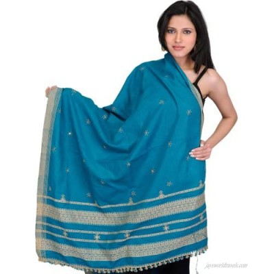 Exotic India Shawl from Kutch with Embroidered Flowers and Mirrors