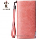 Wallet for Women RFID Blocking Genuine Leather Wallet Large Capacity Phone Clutch with Wrist Strap