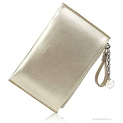 Women Short Wallet Multifunctional Mini Wallet Card Holder Compact Wallet for Ladies Gold