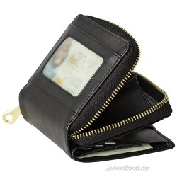 Women's Genuine Leather Small RFID Protection Scan Proof Wallet With Coin Pocket