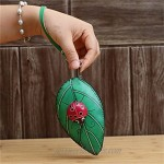 Fanyixuan Ladies Leaf Ladybug Leather Coin Purse Can Put Coin Clutch Bag Handmade Leather Creative Key Case