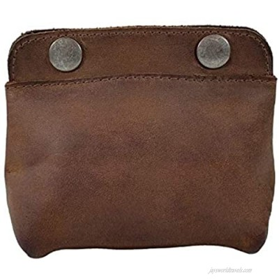 Leather Double Snap Pouch Coin Purse Cash & Card Holder Cable Organizer Makeup Handmade (4x5 Inches)
