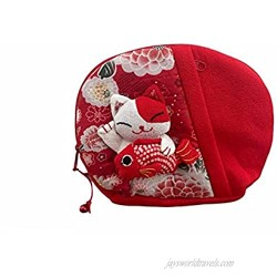 Red Lucky Cat Japanese Style Cute Coin Purse Portable Change Bag Key Holder Kimono Fabric
