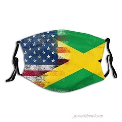 American Flag And Jamaican Flag Face Mask Is A Reusable And Washable Adult Balaclava Breathable And Comfortable General Face Mask A Unisex Face Mask With Adjustable Ear Hooks With 2 Filters.