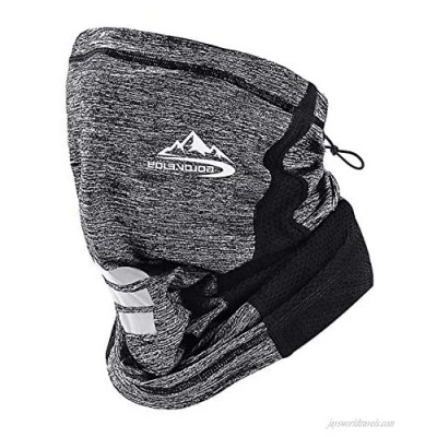 CFinke Neck Gaiter Face Mask Men Women Reusable with Drawstring Easy Adjustable Cooling Breathable Wind Dust UV Sun Proof Running Mask Soft Face Scarf for Cycling Fishing Commuting Hiking Grey