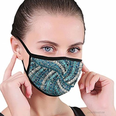 Chic Silver Grey Turquoise Blue Rhinestone Crystal Face Mask Washable Reusable Fabric Face Cover Bandanas Balaclava for Men Women
