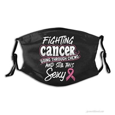 HZ&HZ Fighting Cancer Meme for Chemo Patients Balaclavas Face Cover Adjustable Earloop Balaclavas Anti-Dust Reusable Washable Mouth Cover with 2 Filter for Women Men Black