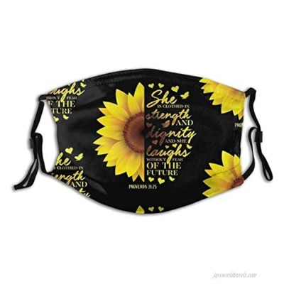 Sunflower Mouth Cover Washable With 2 Pcs Filters Reusable Face Bandanas Dust-Proof Balaclava for Men Women