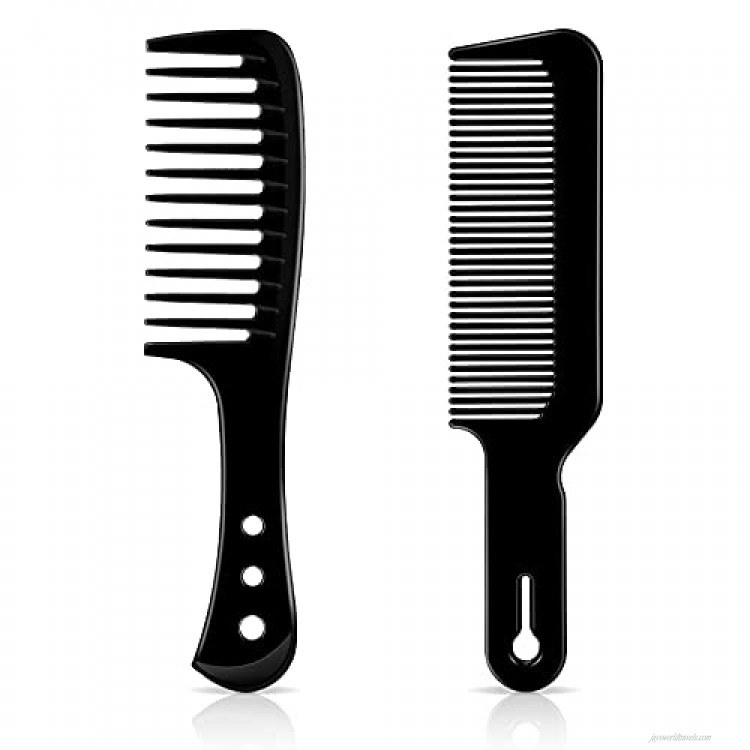 2 Pieces Black Hair Combs Set Include 1 Wide Tooth Comb and 1 Hair Cutting Comb Plastic Large Hair Comb Large Barber Comb Hairdressing Comb for Many Hair Lengths and Styles