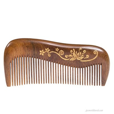 Breezelike Wooden Hair Comb - Fine Tooth Wood Comb for Women - No Static Natural Detangling Sandalwood Comb