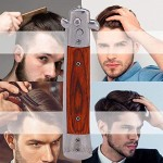 Folding Comb Spring Push Button Pocket Oil Hair Styling (Rosewood)