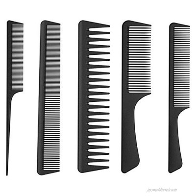 OSRONDEN 5 Pieces Hair Comb Set Rat Tail Comb Wide Tooth Comb Detangling Comb Hair Brush Comb Pocket fine tooth comb Heat Resistant Barber Combs for All Hair Types & Styles(anti-static)