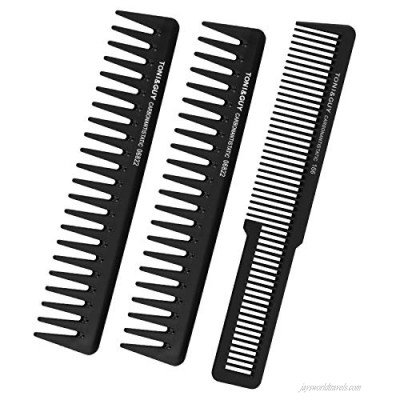 Wide-Fine-Tooth Detangling Hair Comb For Women Men - Black Carbon Fiber Styling Cutting Comb Set For Curly Straight Long Hair 3PCS