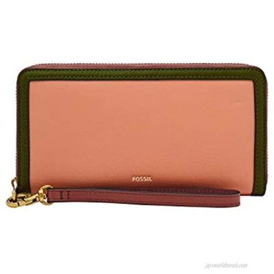 Fossil Women's Logan Leather RFID-Blocking Mid Size Zip Wallet with Wristlet Strap